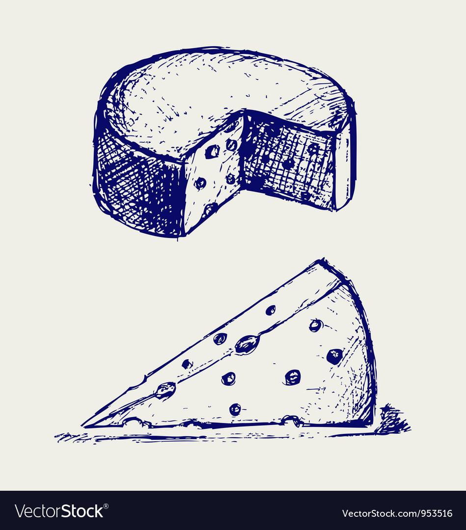 Piece cheese vector image