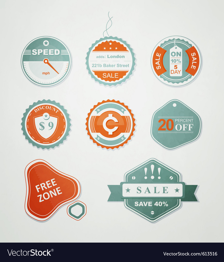 Retail sale labels vector image