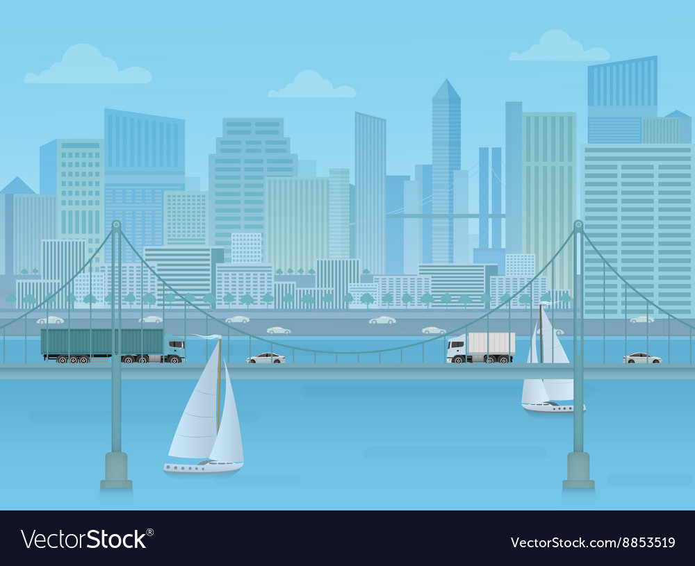 Amazing Bridge with trucks and cars on the modern vector image