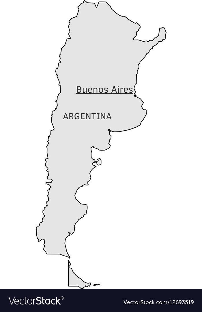 Argentina Silhouette Map With Buenos Aires Capital - Map silhouette