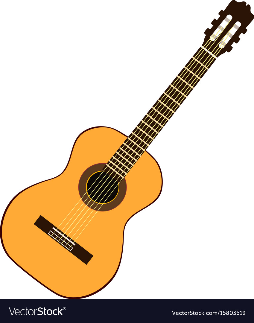 Classic yellow guitar vector image
