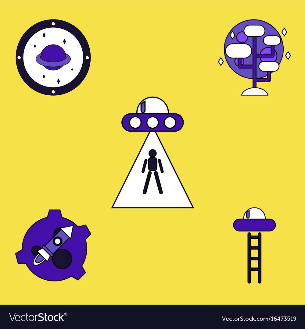 alien spaceship icon flat style