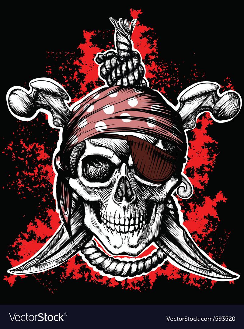 Black jolly roger skull vector image