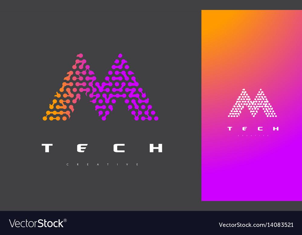 M letter logo technology connected dots letter vector image