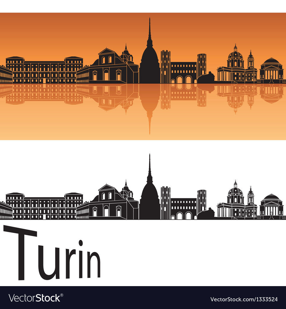 Turin skyline in orange background vector image