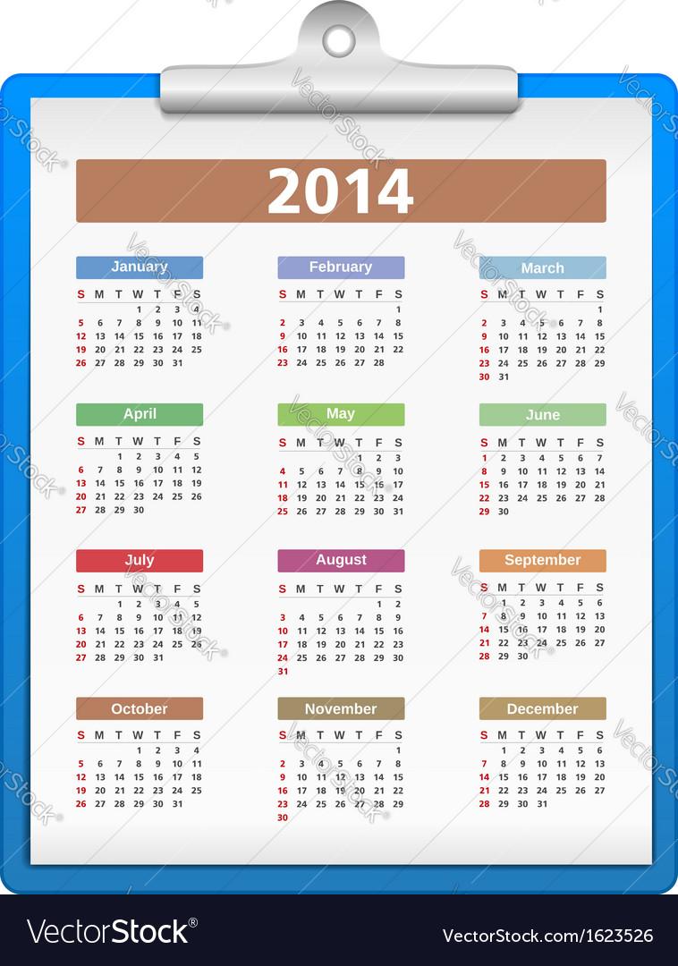 Clipboard with 2014 Calendar vector image