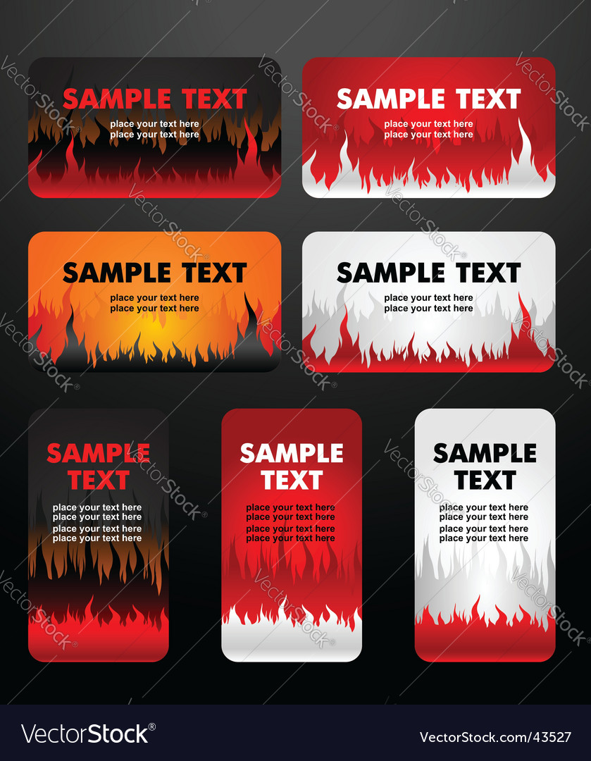 Flaming business cards Vector Image
