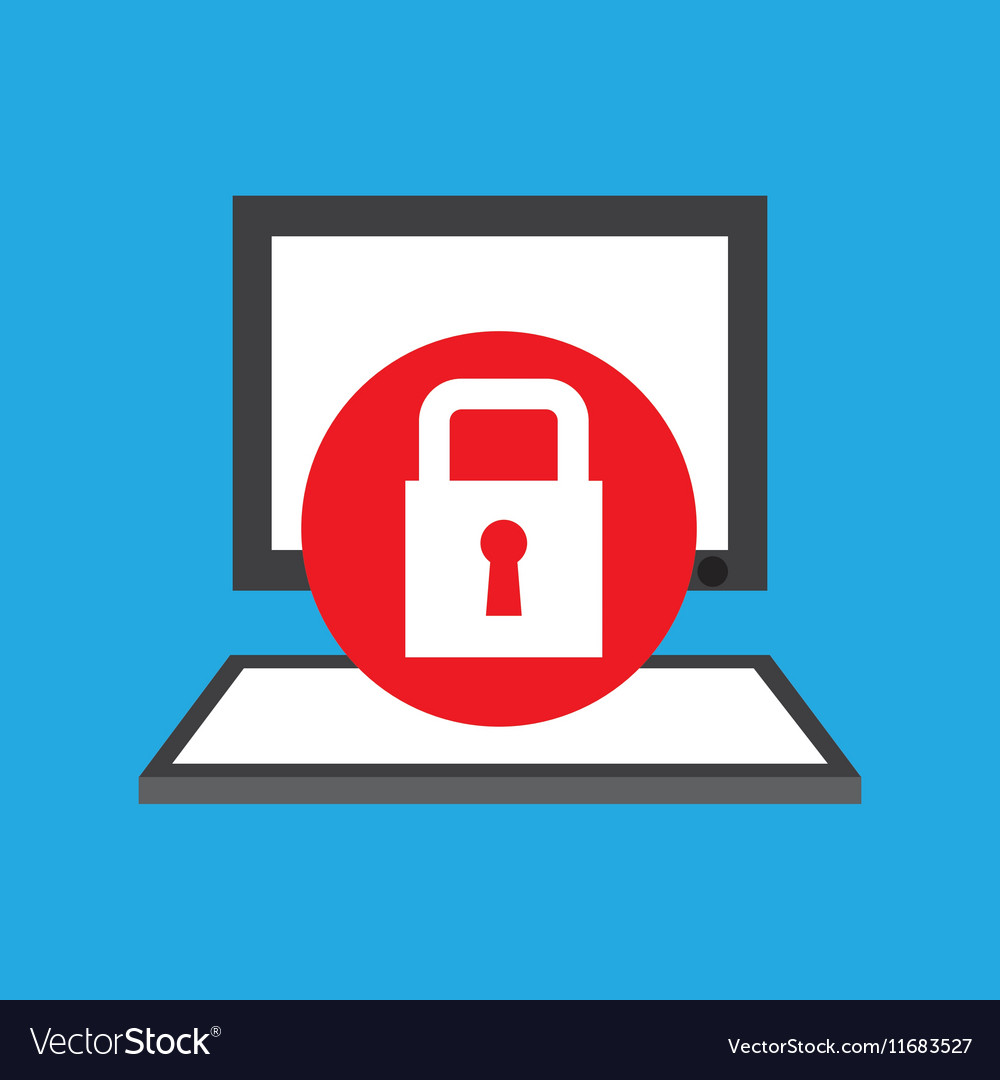 Computer desktop communication protection lock vector image