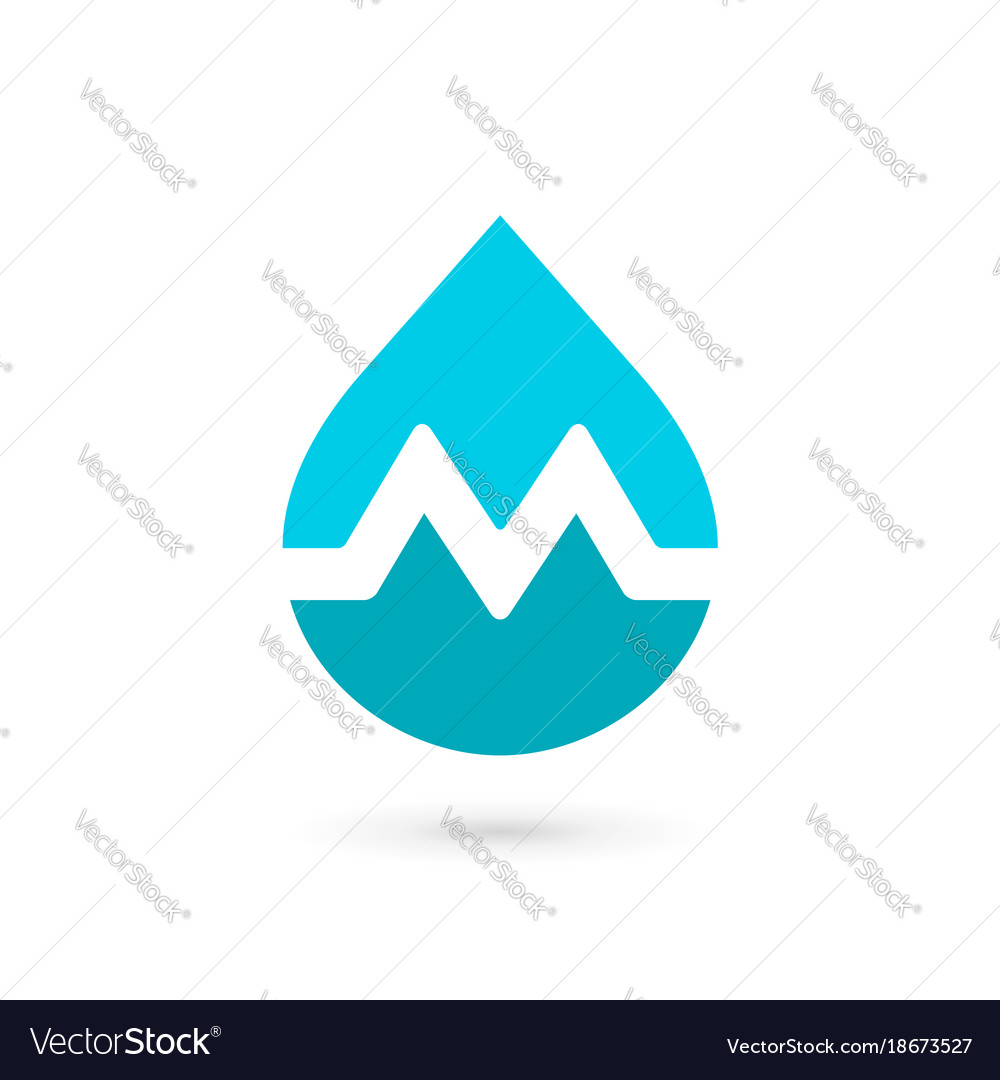 Letter m water drop logo icon design template Vector Image