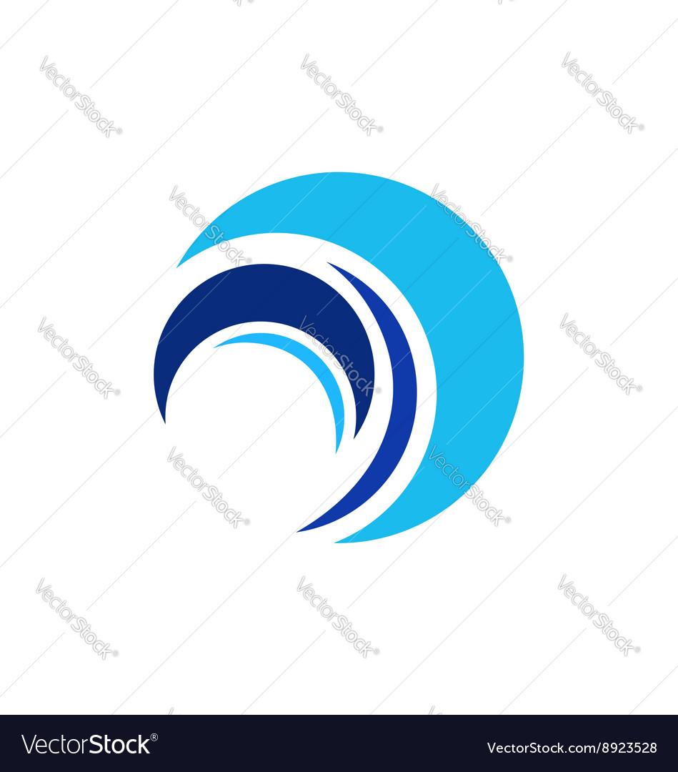 Circle wave logo sphere elements water symbol vector image