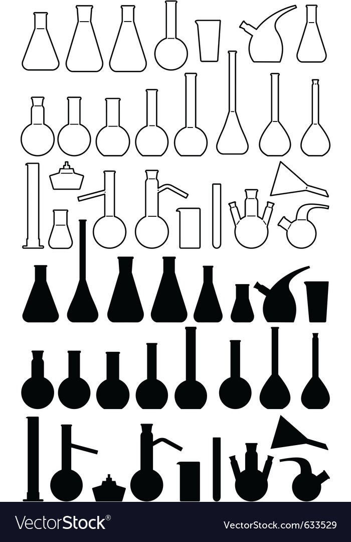 Glass chemical laboratory ware Vector Image