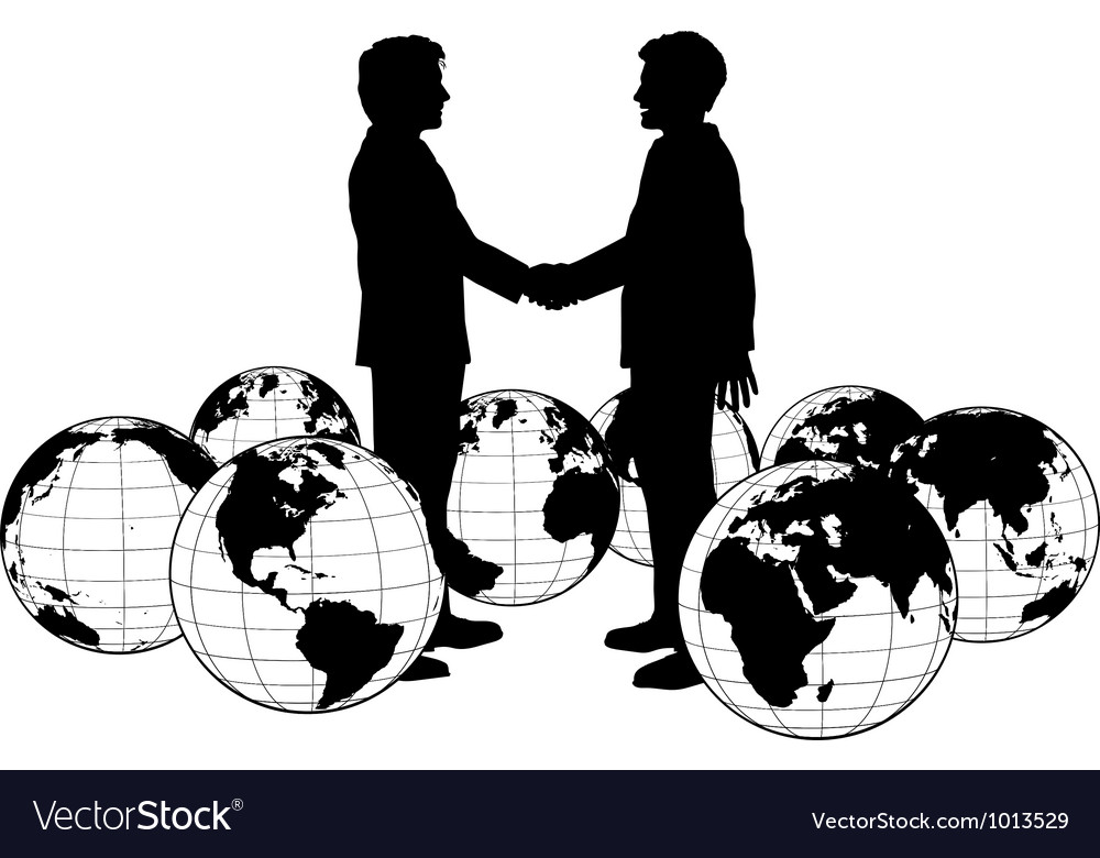 Business people agreement global handshake vector image