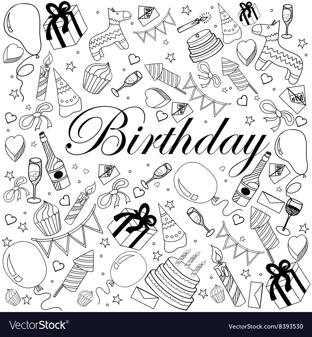 Birthday coloring book Royalty Free Vector Image