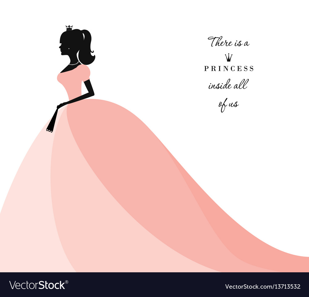 Beautiful princess silhouette in pastel pink dress vector image