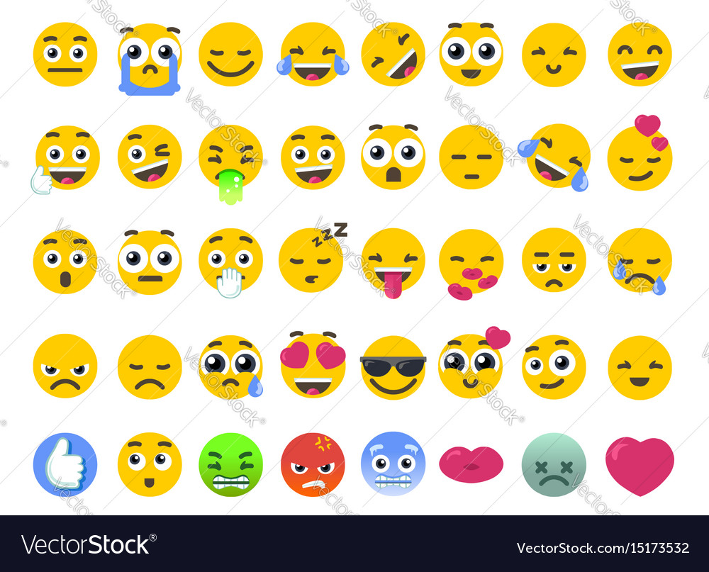 Emoji set of isolated on white emoticons stickers vector image