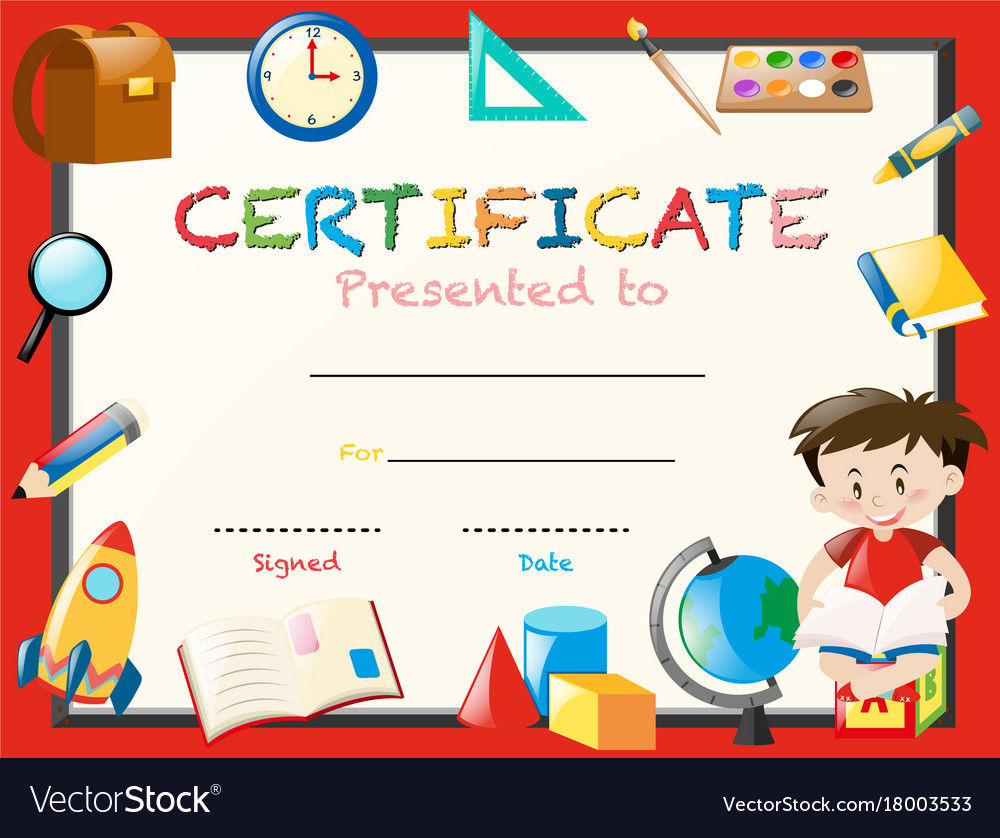 Certification template with boy reading book vector image certification template with boy reading book vector image alramifo Images