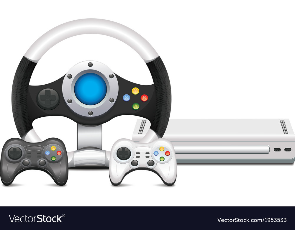 Game Console With Steering Wheel And Gamepad vector image