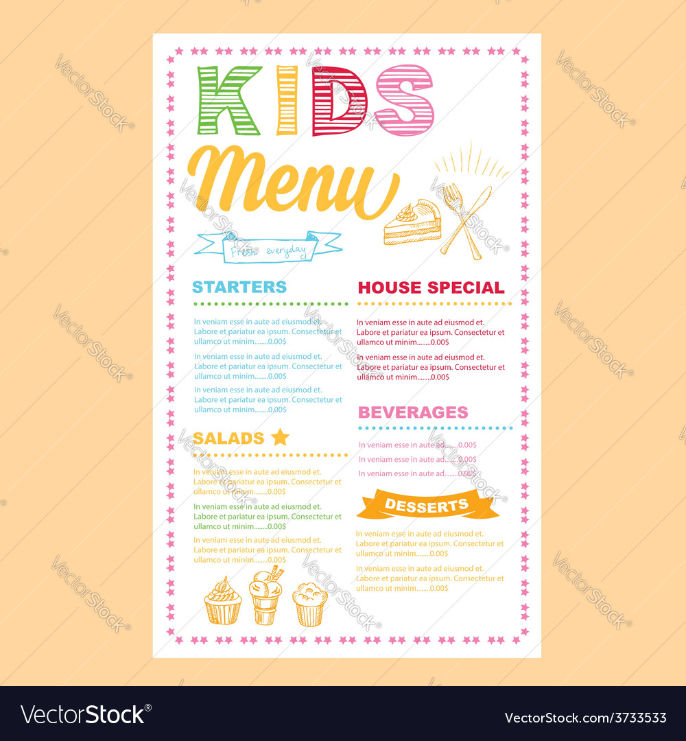 Kids Menu Template Vector Image  Free Kids Menu Templates