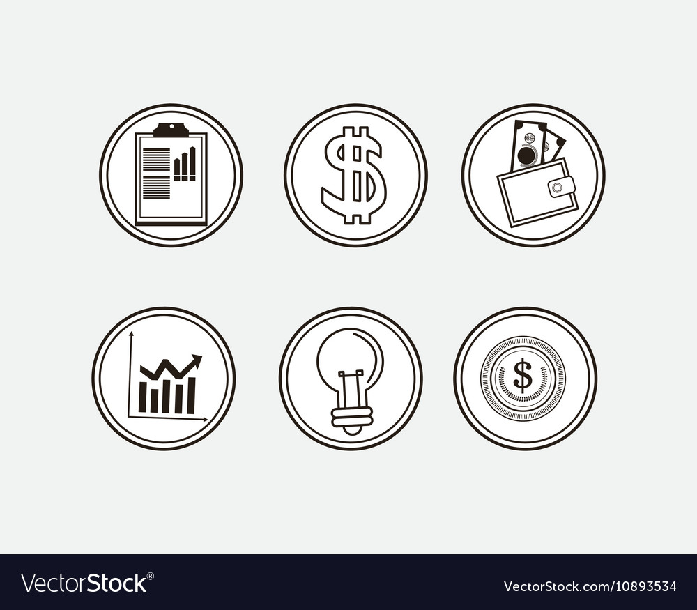 Assorted economy related icons buttons image vector image