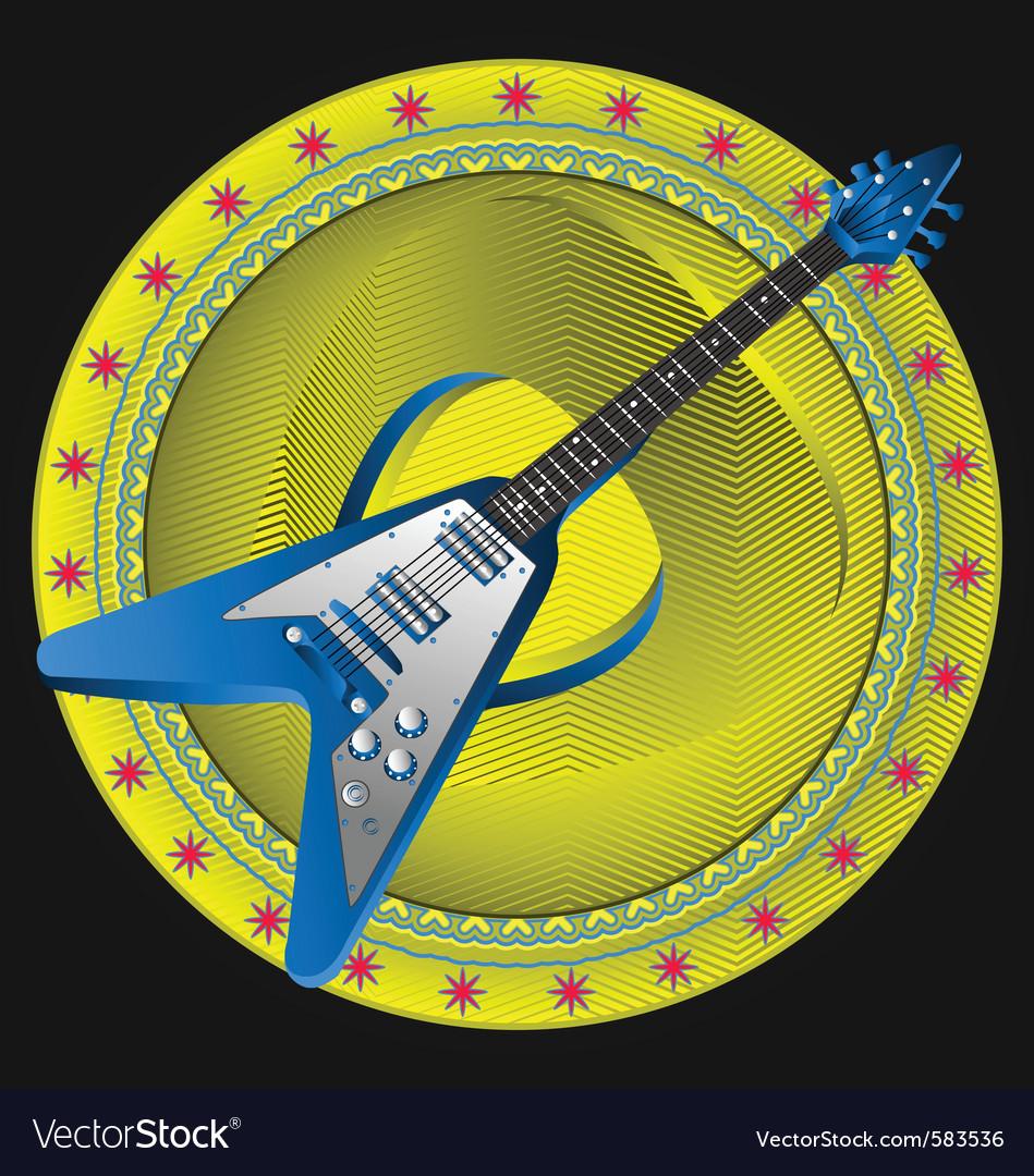 Guitar emblem vector image