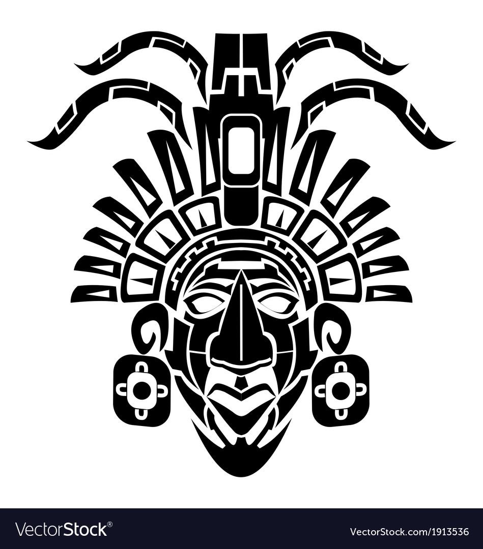 mayan mask tribal tattoo royalty free vector image Indian Warrior Clip Art to Copy Indian Warrior Logo