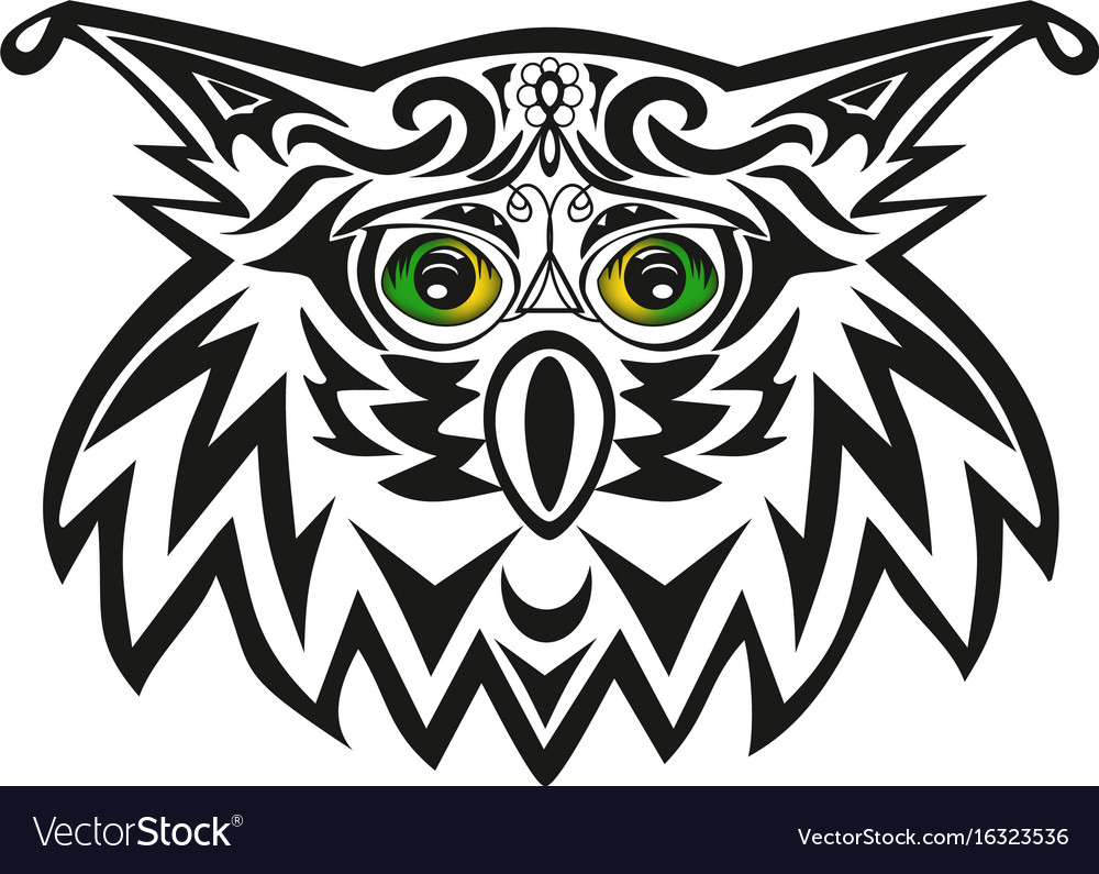 The head of an owl a night bird of prey a vector image