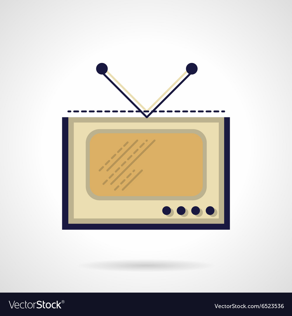 TV flat color icon vector image