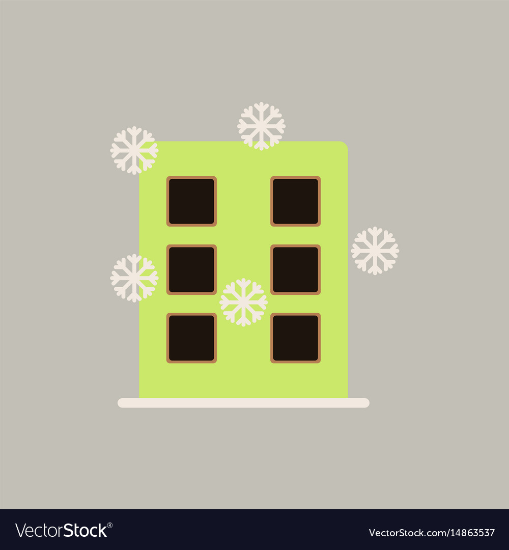 City building with snowflakes