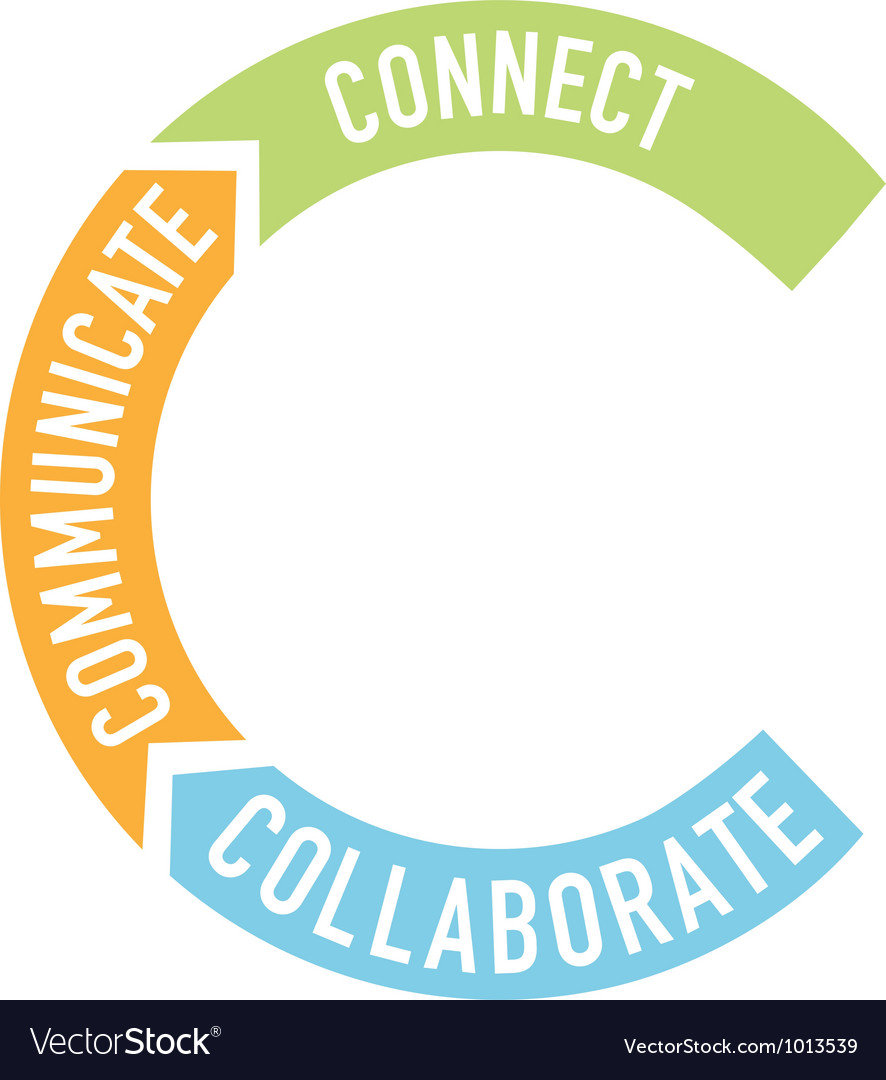 Connect collaborate communicate arrows Vector Image