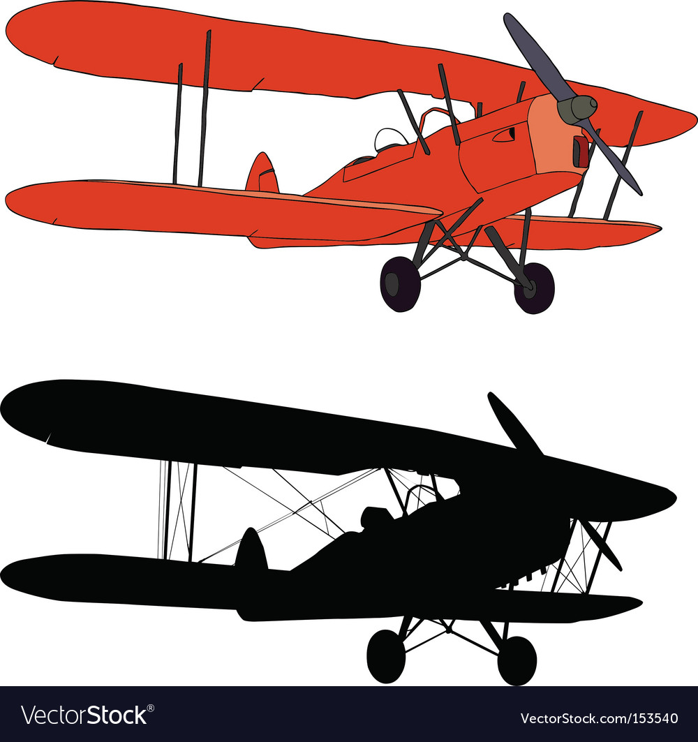 Old airplane vector image