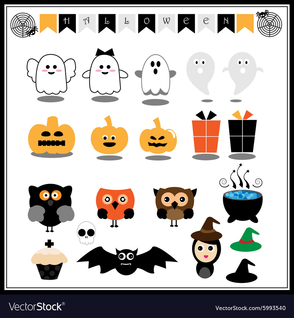 Cute halloween icons vector image