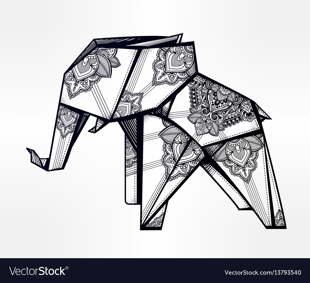 Geometric origami elephant with paisley ornament vector image