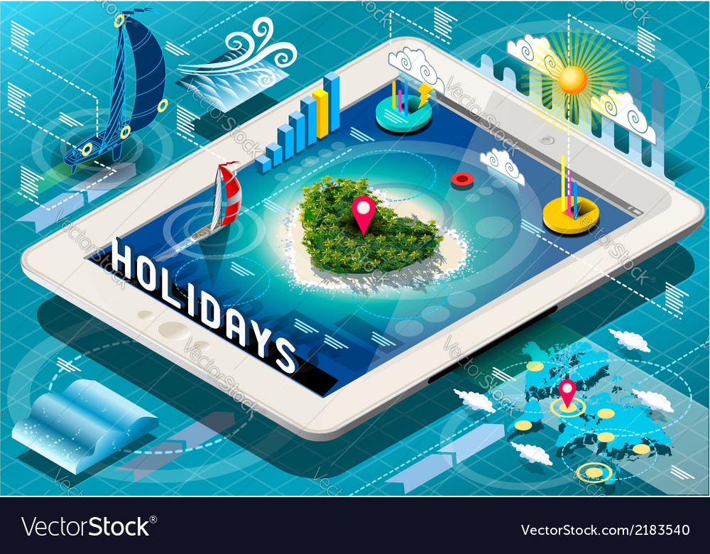 Isometric Holidays Infographic on Tablet vector image