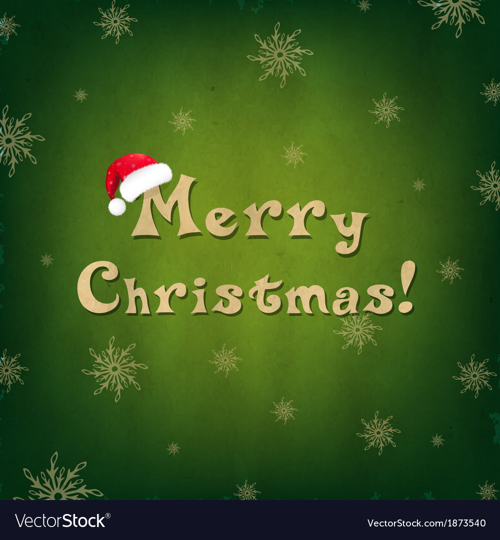 Vintage Merry Christmas Card With Santa Hat vector image