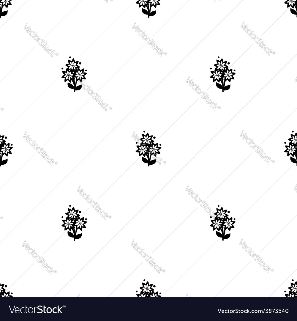 White and black flowers seamless background vector image