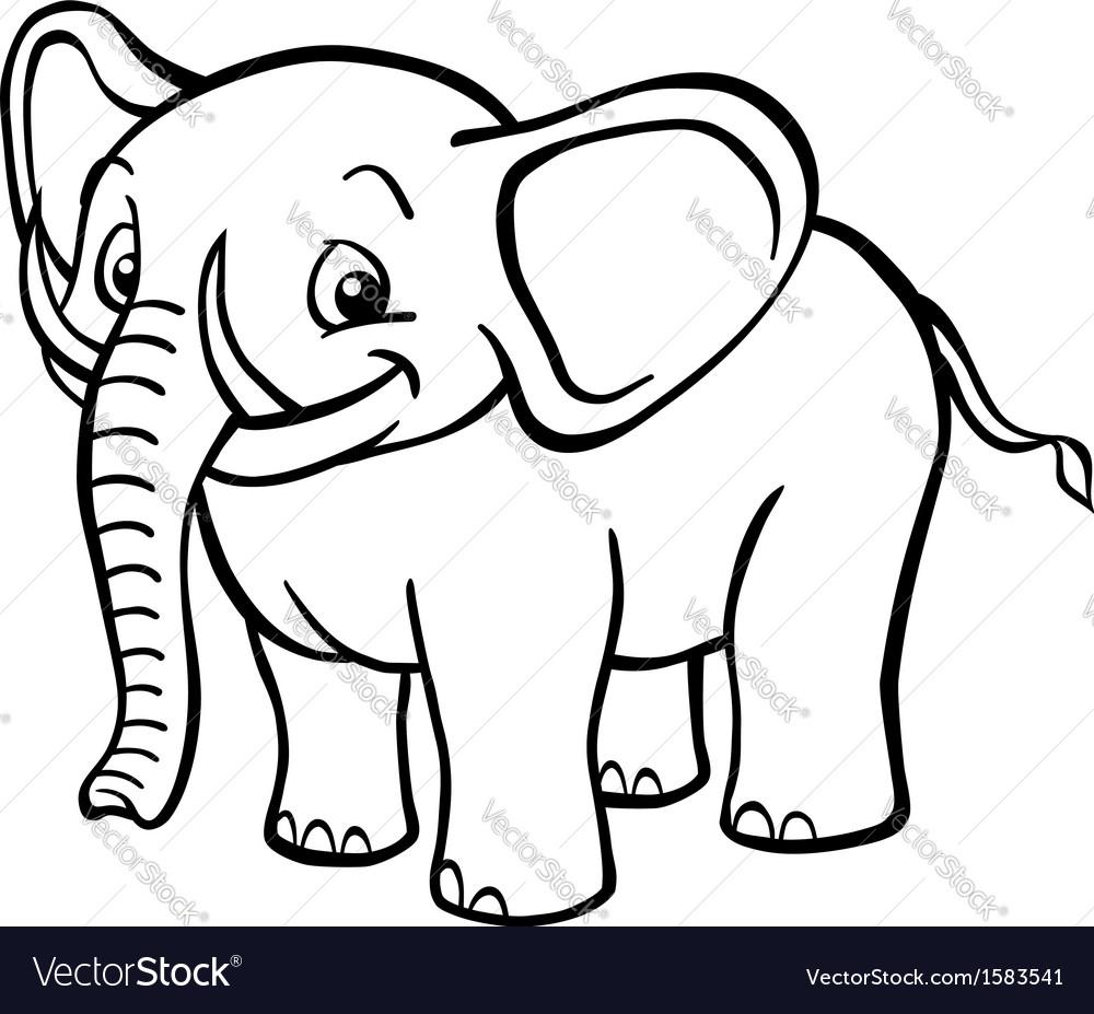 black and white cartoon elephant royalty free vector image