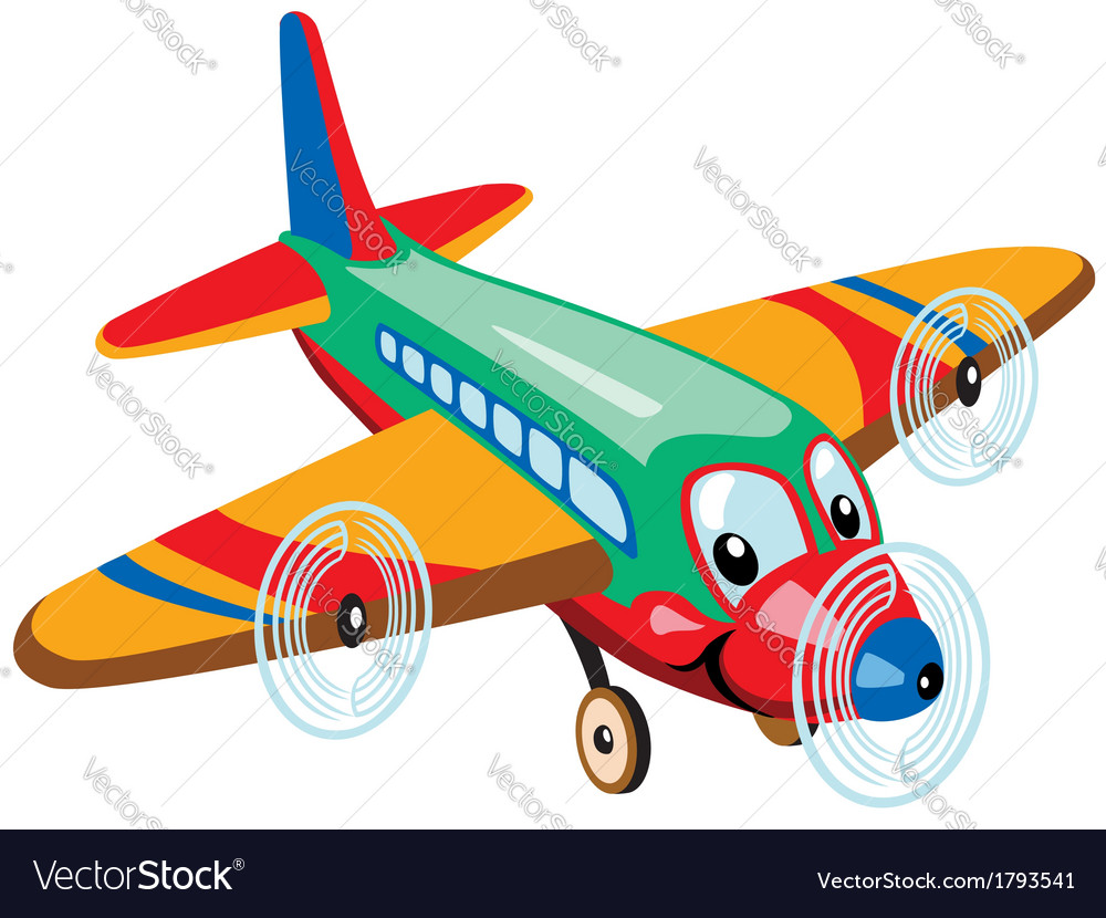cartoon airplane royalty free vector image vectorstock