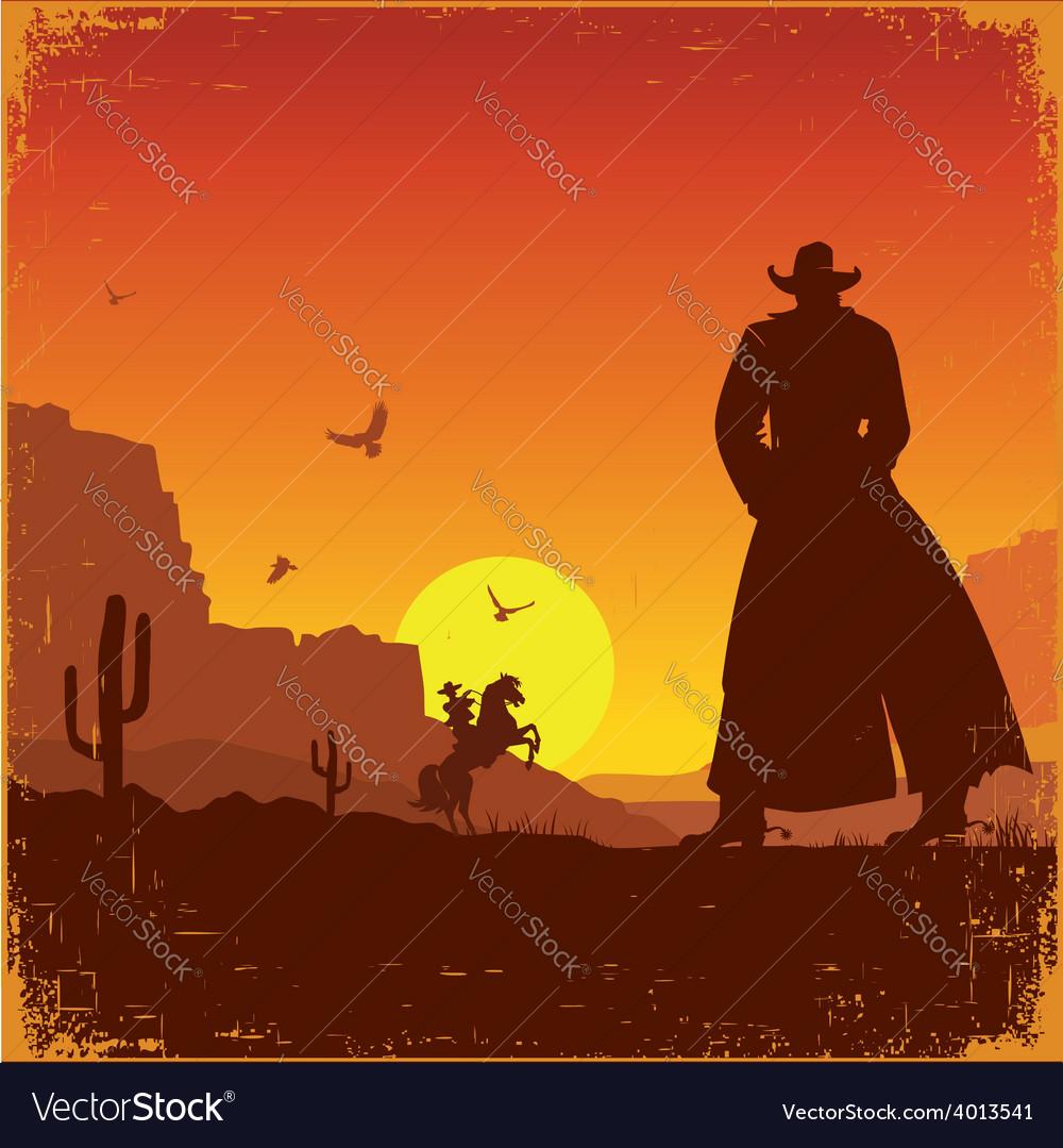 Wild West american landscape western poster vector image