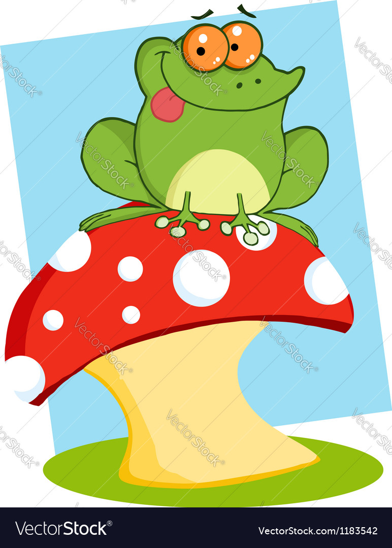 Tree Frog On A Toadstool Or Mushroom vector image