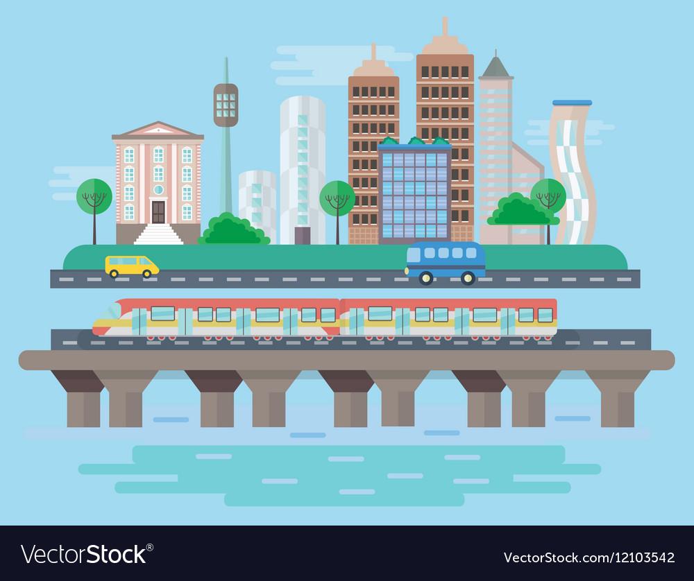 Urban modern city landscape flat concept vector image