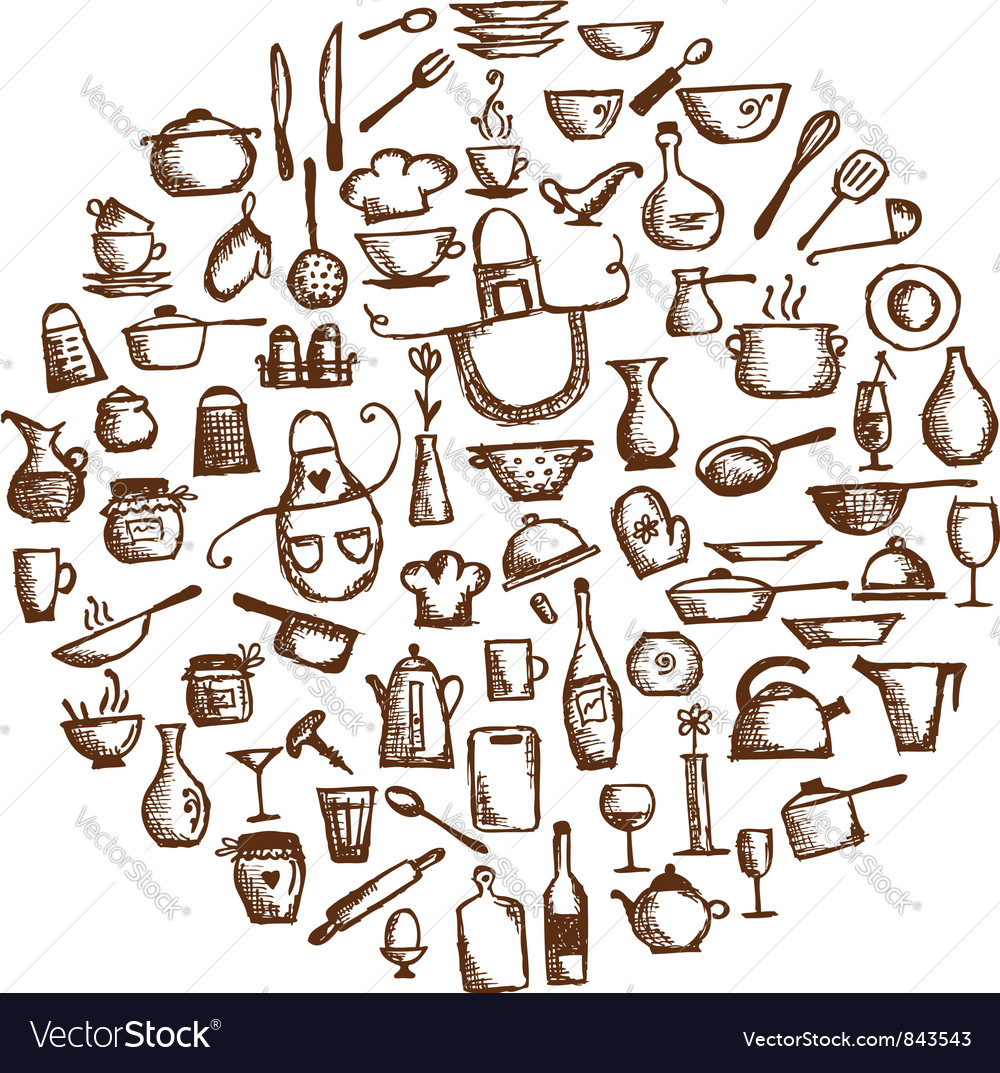 Kitchen utensils sketch drawing vector image