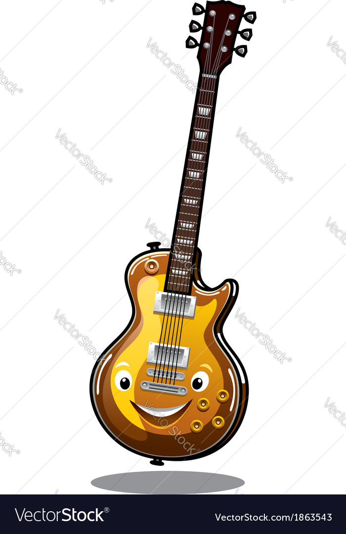 Cartoon electric guitar vector image