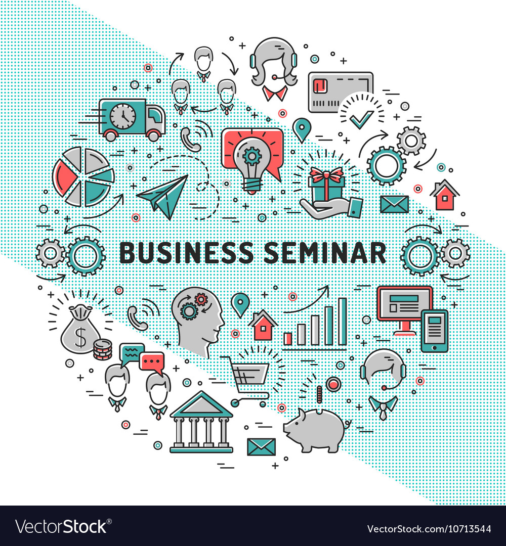 Business seminar design templates line art vector image