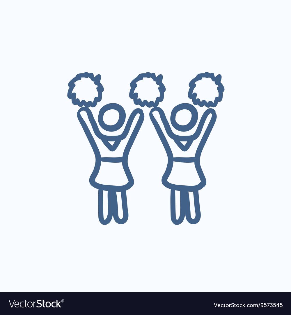 Cheerleaders sketch icon vector image