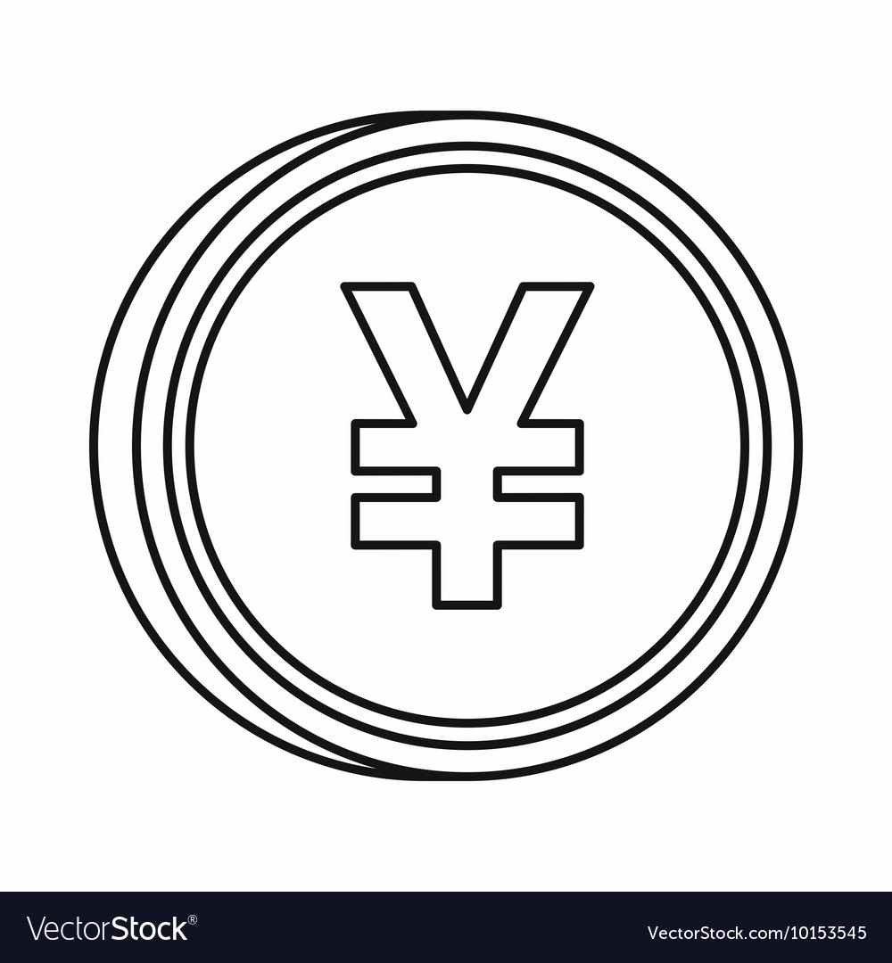 Japanese yen currency symbol icon outline style vector image