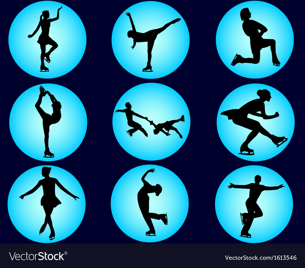 Nine figure skaters vector image