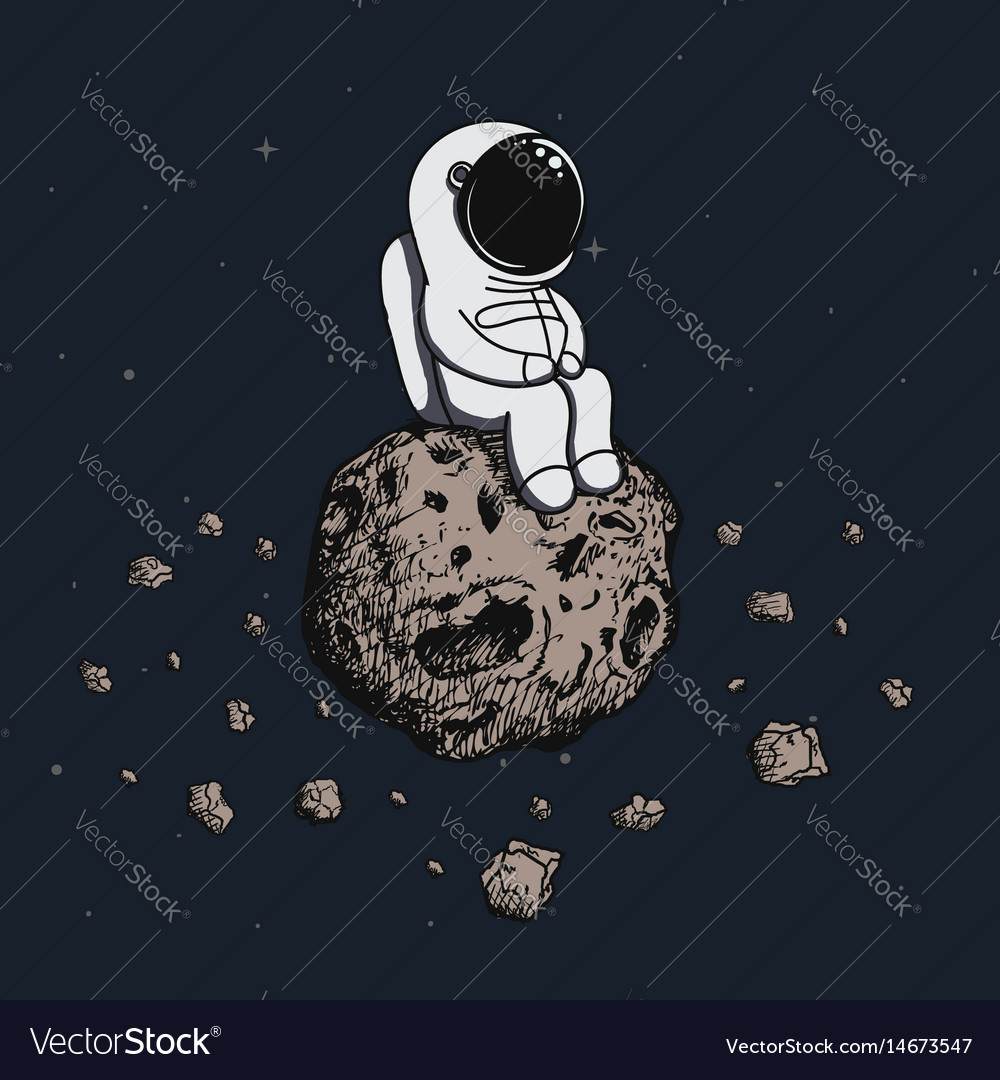 Astronaut travel on asteroid vector image