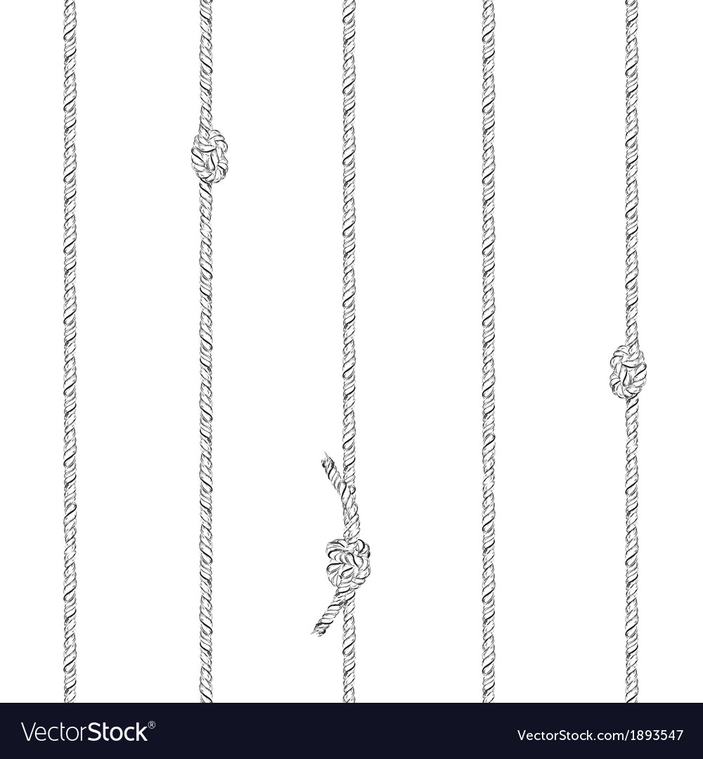 Ropes and knotes seamless pattern vector image