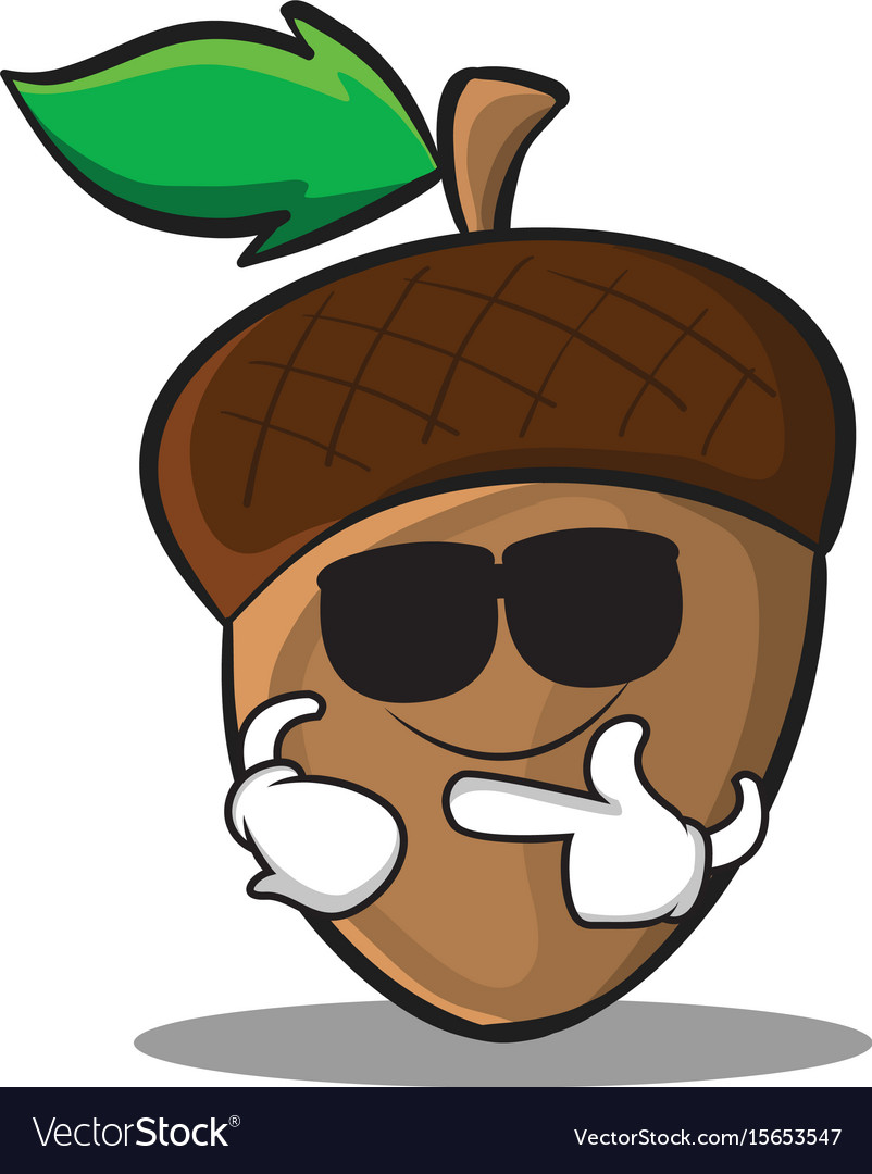Super cool acorn cartoon character style vector image