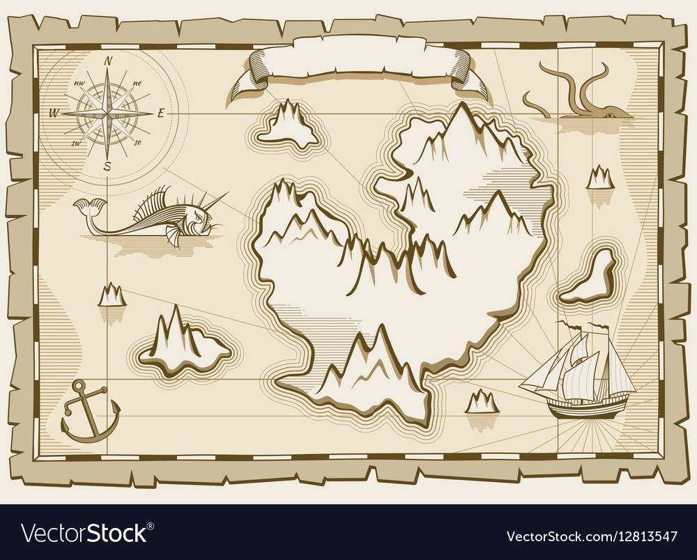 Vintage parchment brown map vector image